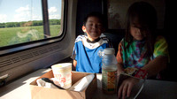 In the dining car.